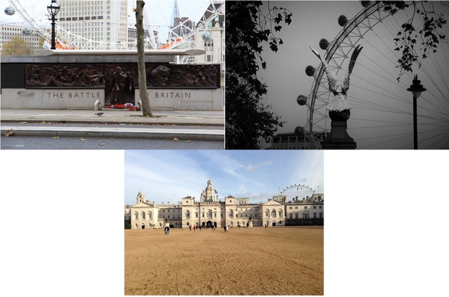 Figure 1: The London Eye looms, often connecting the austere spaces of remembrance with the more effusive, contemporary spaces on the other side of the river